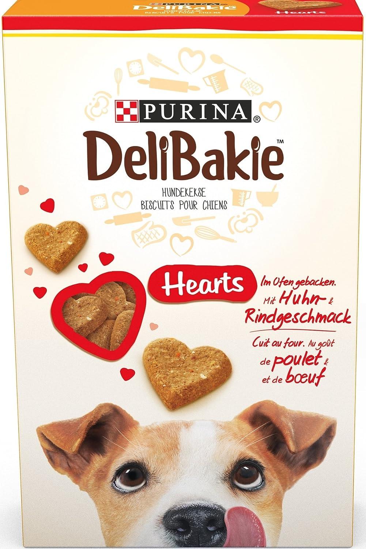 Delibakie Hearts, au Goût de Poulet et Bœuf - 350 g - Biscuits pour Chiens - Lot de 6 12223188
