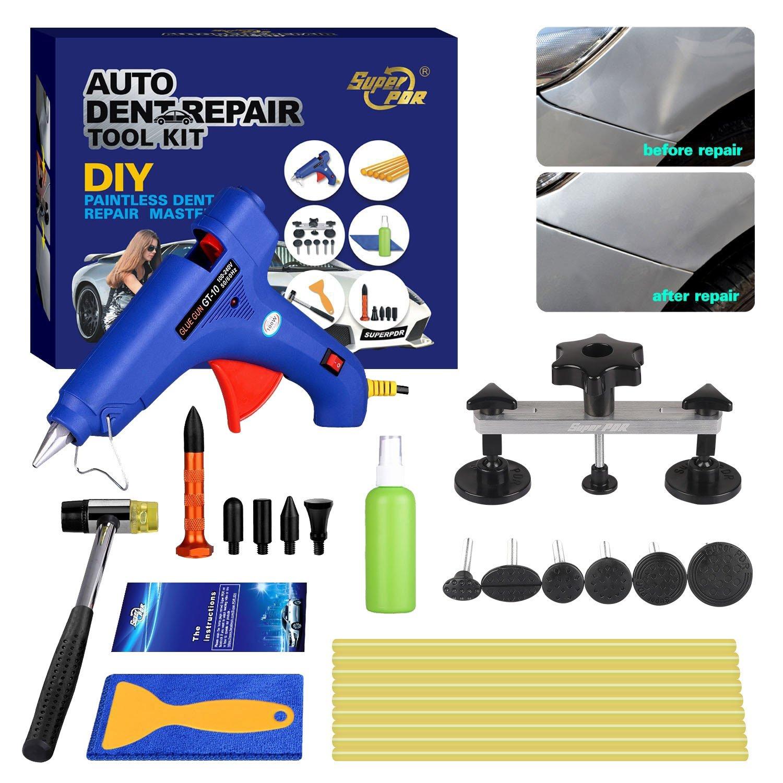 Fly5D Car Paintless Dent Removal Kits 16Pcs Pops-a-dent Bridge Dent Puller Kits Hail Damage Repair Kit Auto Car Dent Removal Dent Puller Kit
