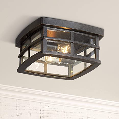 Neri Mission Outdoor Ceiling Light Fixture Oil Rubbed Bronze 12 Clear Seedy Glass For Exterior House Porch Patio Deck John Timberland Amazon Com