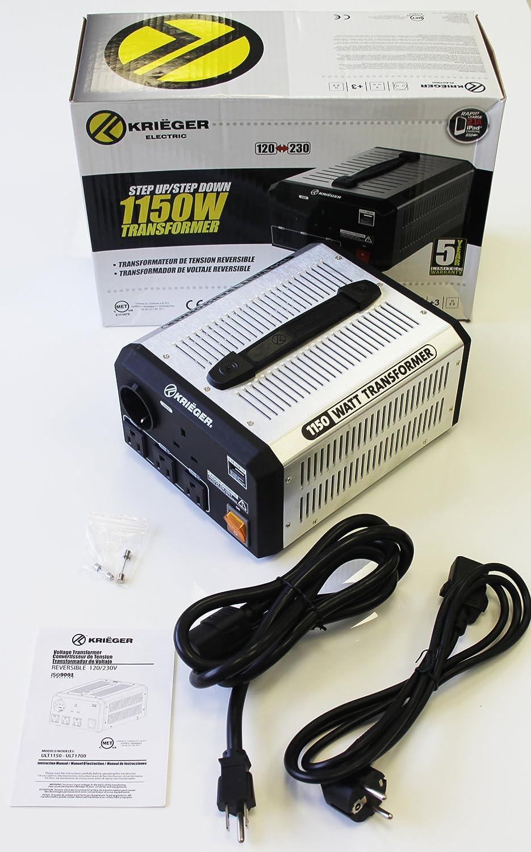KRIEGER 1150W Transformador 220v a 110v, 1150 Vatios de Potencia Máxima, Convierte Voltaje de 220-240 Voltios a 110-120V y viceversa, Transformador con Núcleo Toroidal Aprobado por MET bajo UL y CSA: Amazon.es: