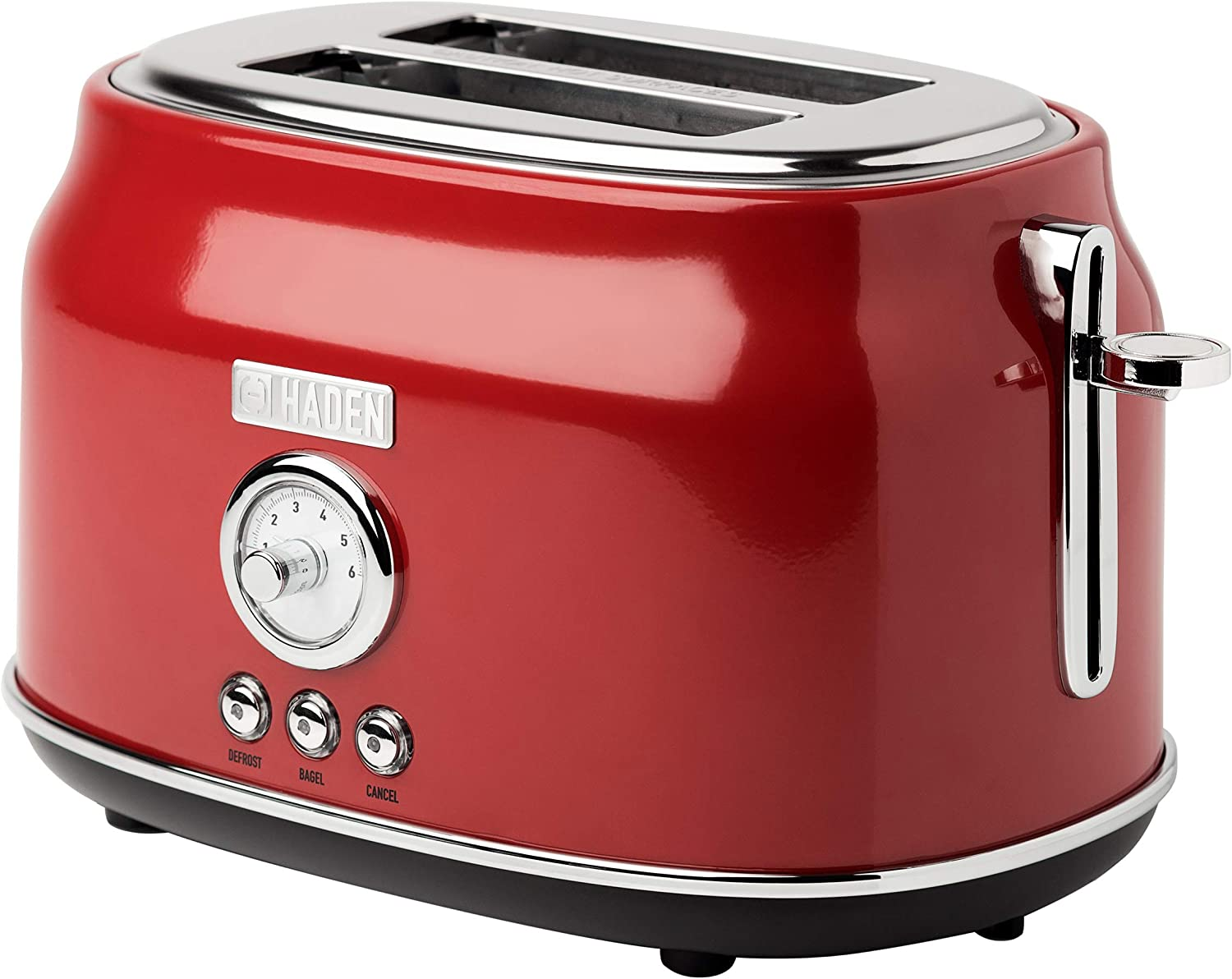 Haden DORSET 2-Slice, Wide Slot, Stainless Steel Retro Toaster with Adjustable Browning Control and Cancel, Defrost and Reheat Settings in Red