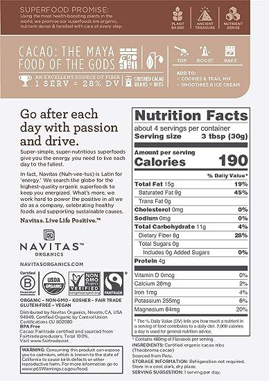 Amazon Navitas Organics Cacao Nibs 4 Oz Bag Cocoa Nibs Raw