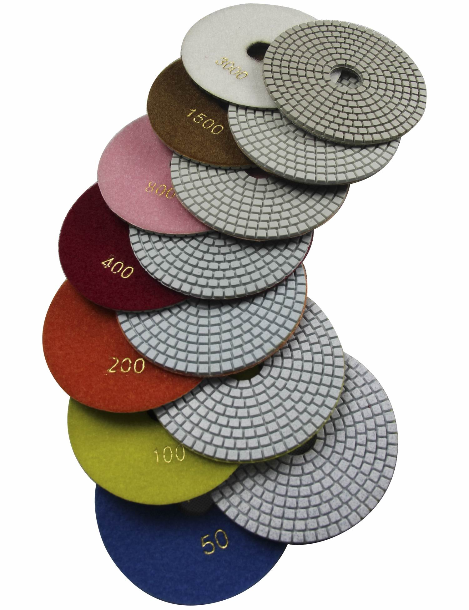 Konfor Wet 6'' 7-Step Diamond Polishing Pads Flexible Sanding Tools Discs Buff by Konfor