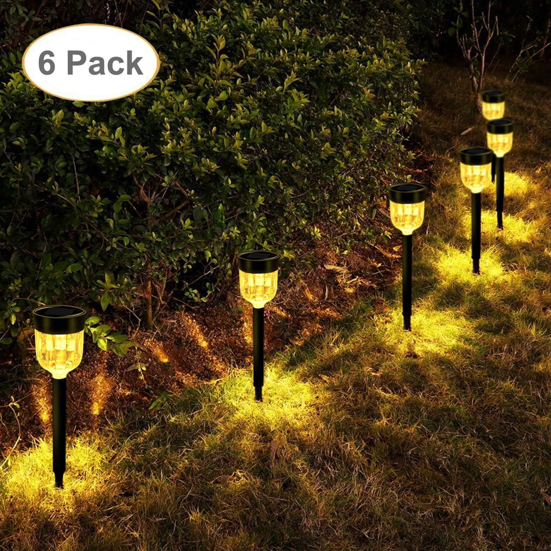 LEOHOME Lámpara solar para jardín, 6 pack Luces solares led exterior, luz blanca cálida, IP65 Resistente Para Patio,Césped,Pasillo,Instalación Fácil Sin Cables: Amazon.es: Iluminación