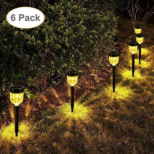 LEOHOME Lámpara solar para jardín, 6 pack Luces solares led ...