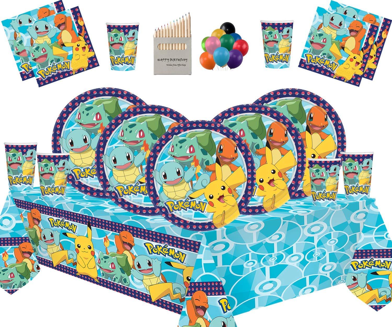Platos Copas Servilletas Cubiertas de Mesa con Paquete de Globos Gratis para 16 Invitados Decoraci/ón de la Fiesta de cumplea/ños Infantil de Pokemon