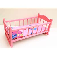 nattoyz Wooden toy cot cradle crib, rocking bed for dolls 20 inch