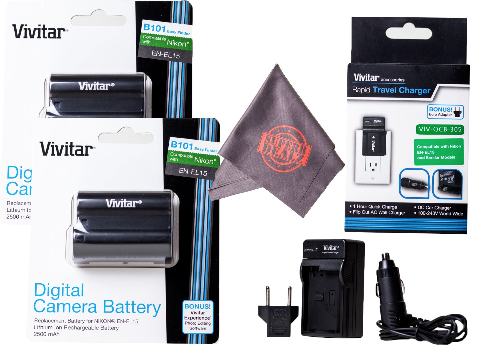 2 Pack of Vivitar EN-EL15 Ultra High Capacity 2500mAh Li-ion + AC/DC Vivitar Rapid Travel Charger + Microfiber Lens Cleaning Cloth EL15 ENEL15 (Nikon EN-EL15 Replacement) by Vivitar