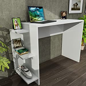 MAKENZA Marlinda Office Desk Study Writing Desk with Wooden Storage Shelf Computer Table for Home & Offices, Desk for Small Spaces, Compatible for Living Room Furniture (White)