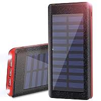 Wiswan Batería Externa Power Bank 24000mAh, Cargador Solar Puerto de Alta Velocidad, 2 LED Ligeros, Total 5A Puertos de Carga USB para iPhone, iPad, Samsung Galaxy, androide y Otros Dispositivos-Rojo