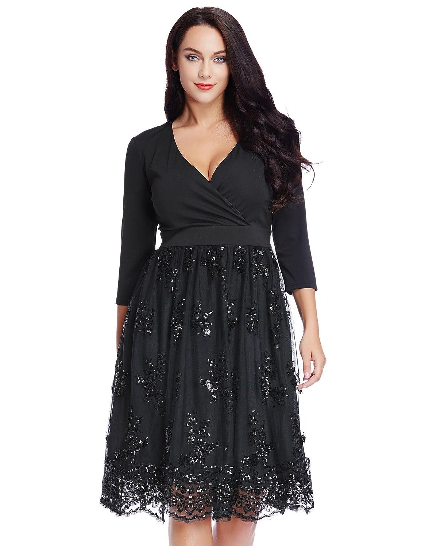 GRAPENT Women's Plus Size 3/4 Sleeve Surplice Sequin Mesh A Line Skater Dress