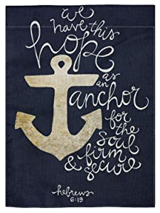 "pingpi Bible Verse Double Sided Burlap Garden Flag 12.5""x18"" - We Have This Hope As an Anchor for The Soul Hebrew 6:19"