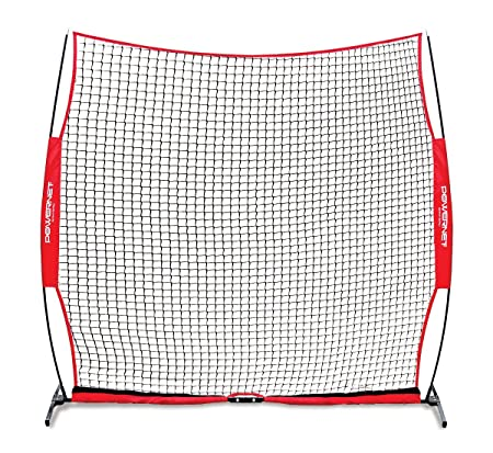 PowerNet Portable Barrier Net 8 ft x 8 ft for Baseball and Lacrosse 64 SQFT of Protection Safety Backstop w Bow Style Frame Portable EZ Setup Train Anywhere Durable Base, Poles Netting