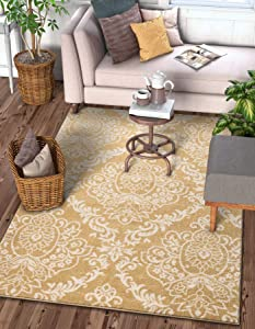 """Delicate Damask Gold Oriental Geometric Modern Casual Lattice Area Rug 3x5 ( 3'3"""" x 4'7"""" ) Easy Clean Stain Fade Resistant No Shed Contemporary Traditional Moroccan Trellis Floral Living Dining Room"""