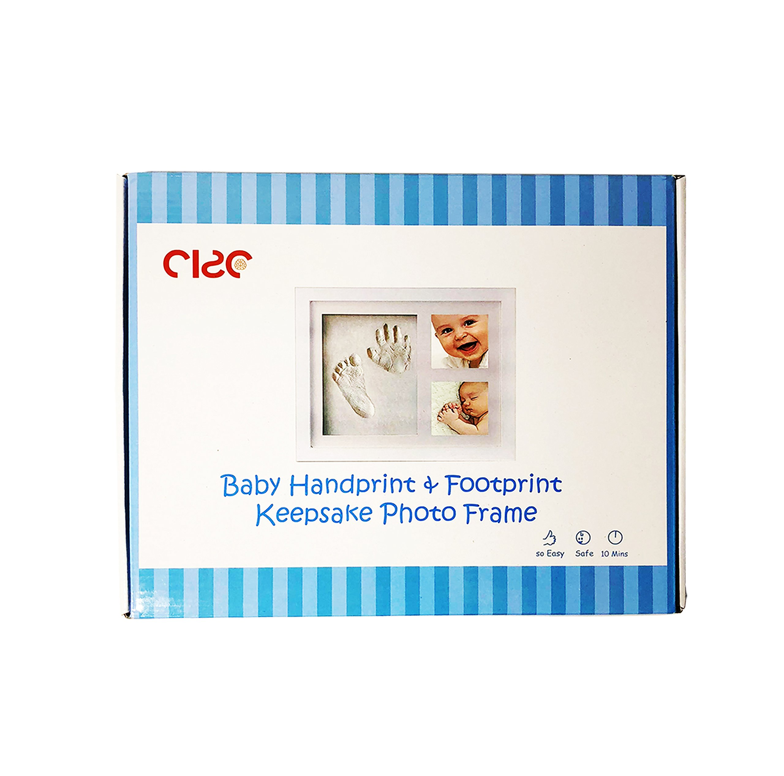 CISC Baby Handprint and Footprint 12' x 10' Keepsake Picture Frame- Frame Kits & Non-Toxic Clay! Best Gift in Baby Shower! Perfect Item for Registry! Personalized Album for Baby Boys & Girls! by CISC