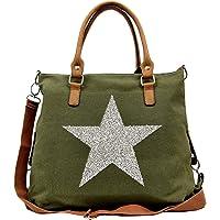 Canvas Tote Bag Women   Shoulder Bag Women   Crossbody Bag for Women   Glittering Star Motif   Heavy Duty Lightweight…