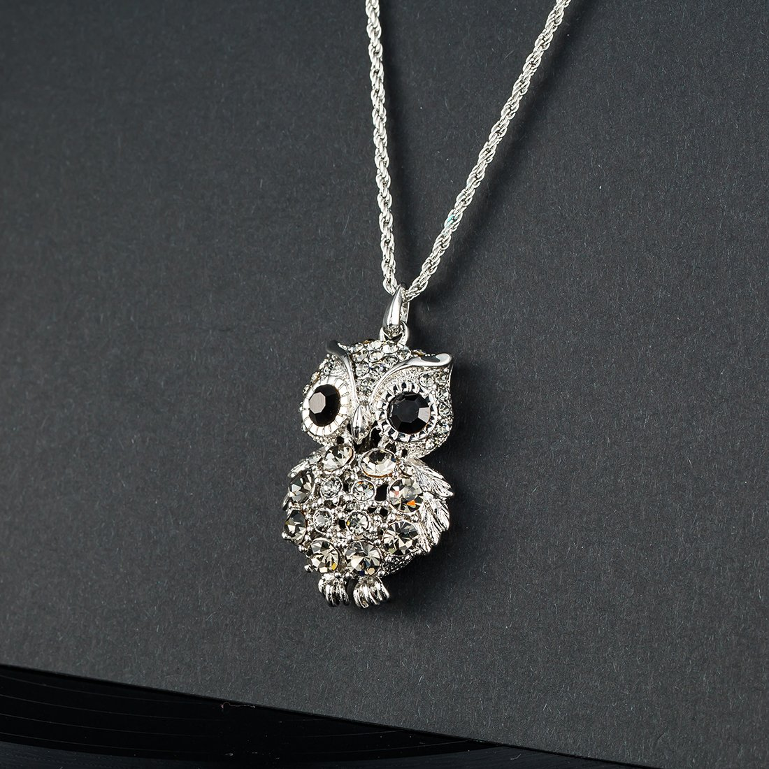 NEOGLORY Jewelry Full of Rhinestone Owl Long Chain Pendant Necklace 2 Colors with Jewelry Box