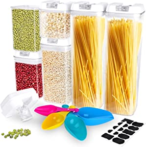 Airtight Food Storage Containers with Lids, 6 Pcs BPA Free Clear Plastic Cereal Food Space Saver Boxes with Spoons, Labels and Pen, Kitchen & Pantry Clear Storage Containers for Grain, Snacks, Pasta