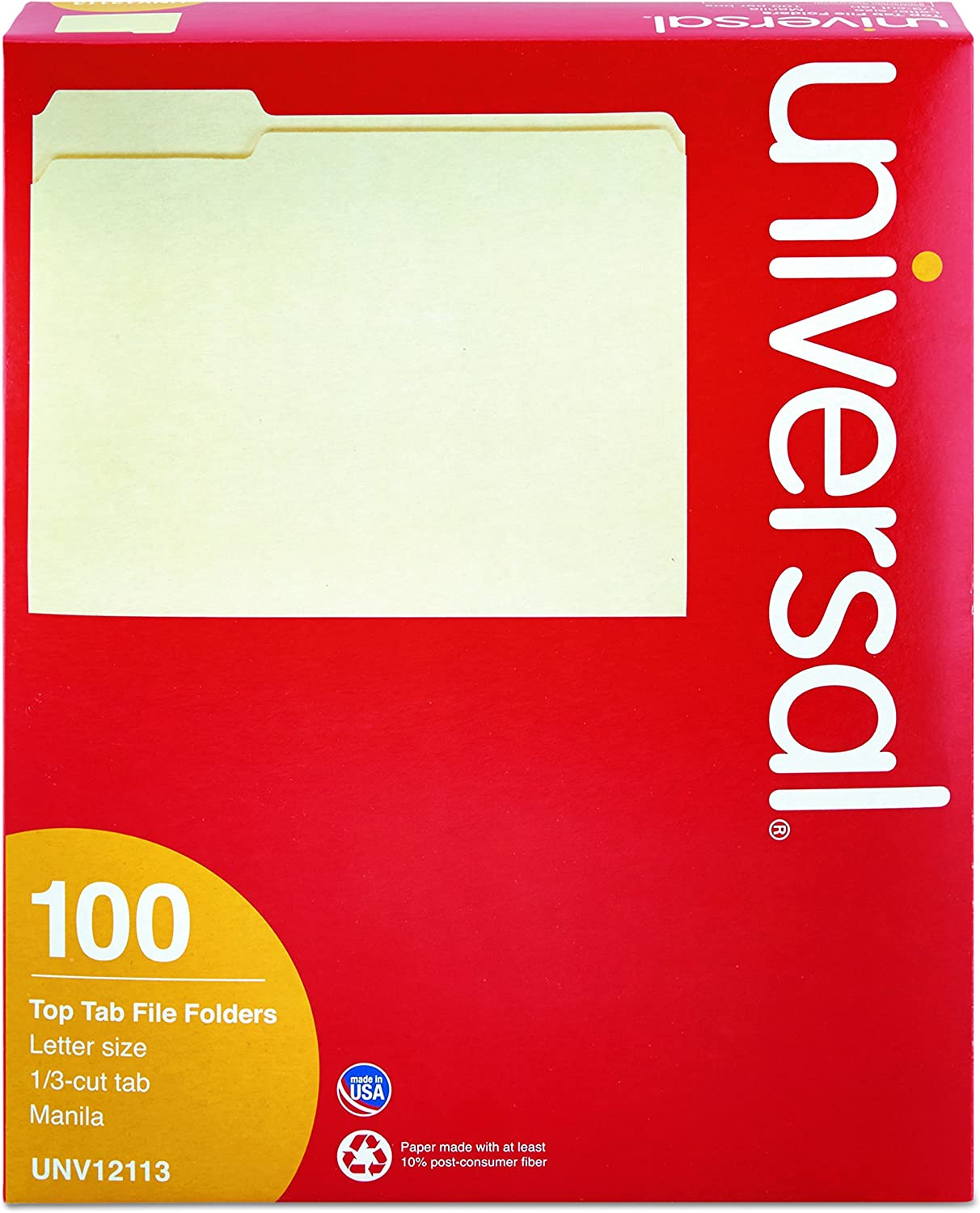 One-Ply Top Tab Letter 1//3 Cut Assorted Universal 12113 File Folders 100//Box Manila