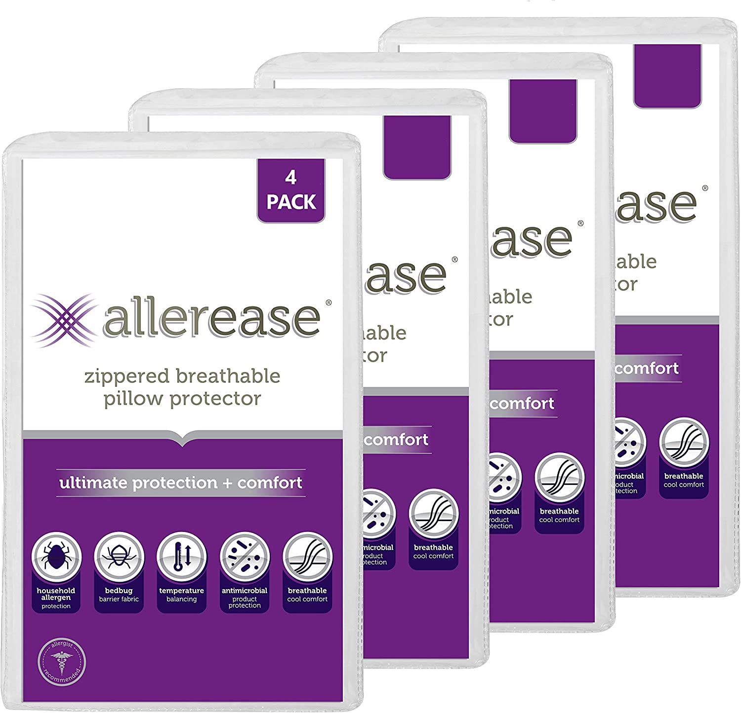 AllerEase Ultimate Protection & Comfort Temperature Balancing Pillow Protector – Zippered, Antimicrobial, Allergist Recommended Prevent Collection of Dust Mites and Allergens, King-4 Pack, White