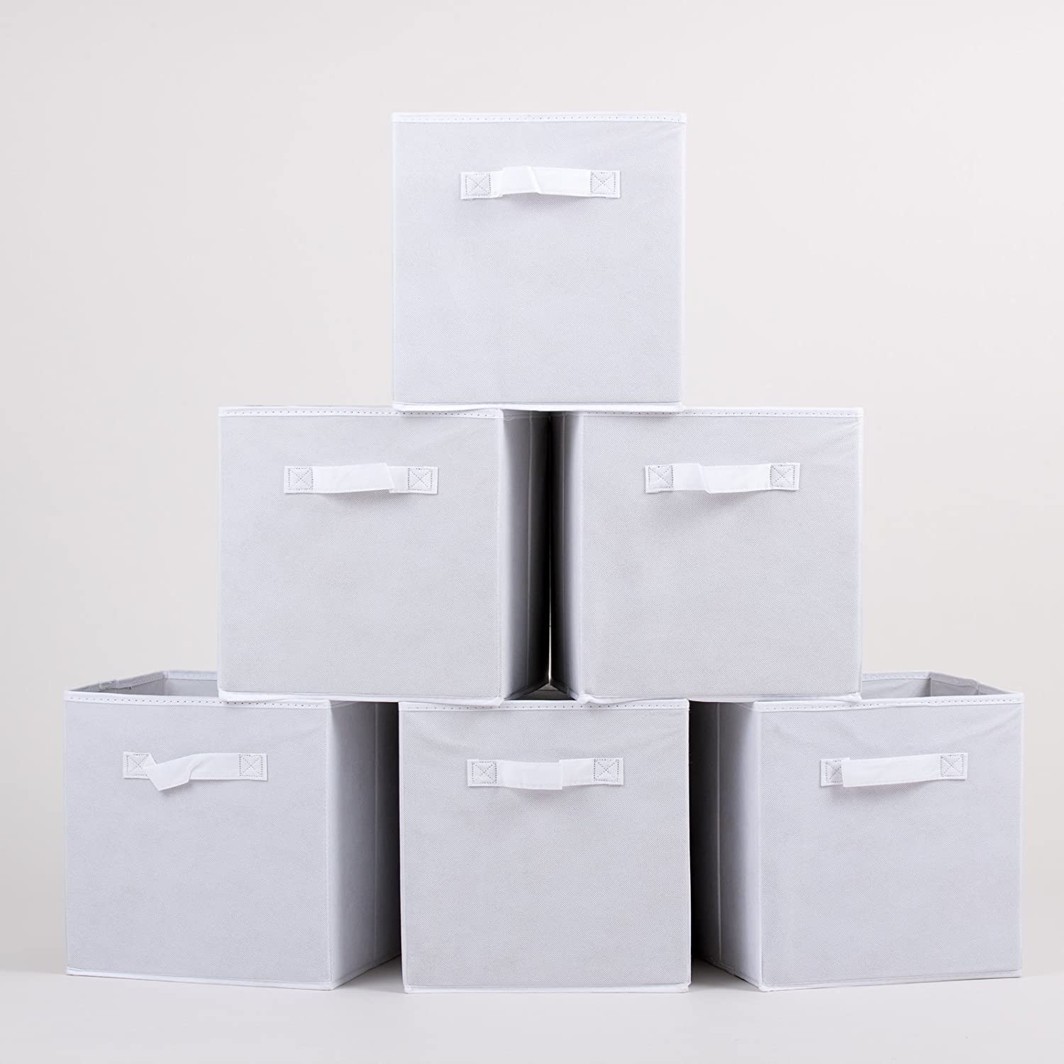 1 Click Buy Foldable Storage Cubes 11 x 11 Set of 6 Fabric Cube Storage Boxes Drawers Available in White, Grey and Black Handy Organiser Storage Bins Baskets White