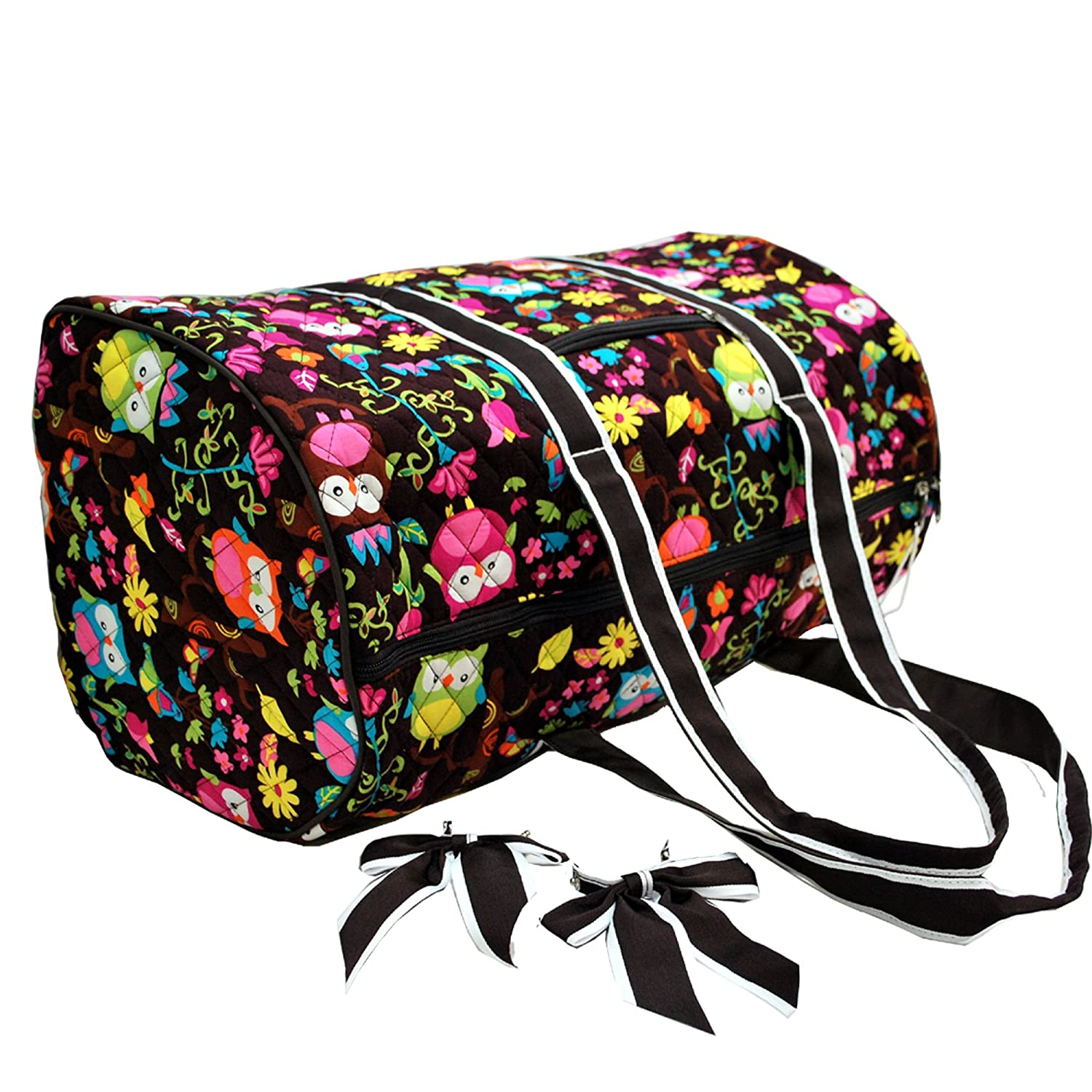 Fashionable Super LightweightOri-Ori Quilted Floral Carry-On Duffel Bag in 3 Patterns-BEST GIFT owl