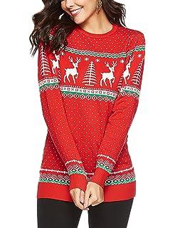 664e0e4b46 Avernon Women Long Sleeve Crewneck Ugly Christmas Sweater Reindeer Jumper  Top Pullover