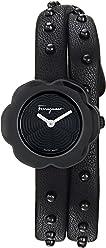 Salvatore Ferragamo Women's 'Fiore' Quartz Stainless Steel and Leather Watch, Color:Black (Model: SFCS00218)