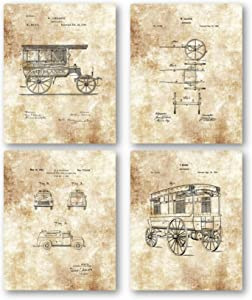 Ramini Brands Original Ambulance Patent Art Drawings - Set of 4 8 x 10 Unframed Prints - Great Gift EMTs, Fire Rescue and Paramedics - Vintage Emergency Room Decor