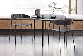 Amazon Com Armen Living Perry Wood And Metal Modern Dining Room Chairs Set Of 2 Black Chairs