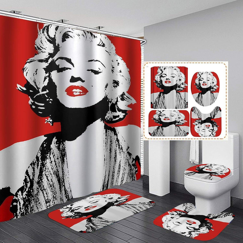 Fashion_Man 16PCS/Set Red Sexy Marilyn Monroe Shower Curtain, Waterproof Polyester Fabric Bath Curtain, Sexy American Woman Bathroom Decor, Non-Slip Bathroom Mat Bath Mat Toilet Rug, Confident Lady