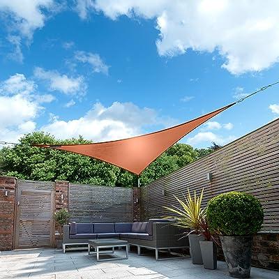 "Kookaburra Waterproof Terracotta Sun Shade Sail Garden Patio Gazebo Awning Canopy 98% UV Block with Free Rope (16ft 5"" Triangle) : Garden & Outdoor"