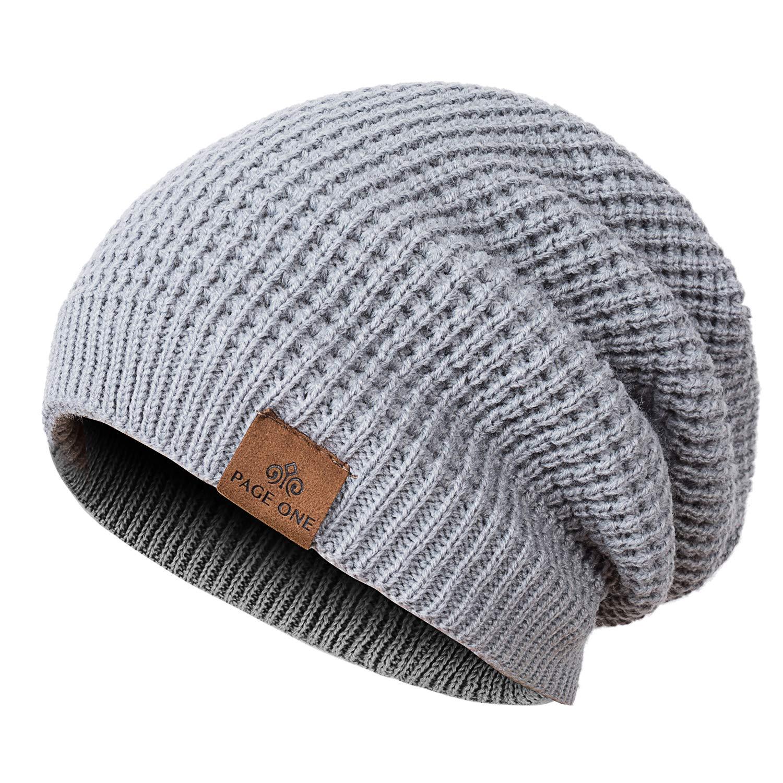 54947de92 PAGE ONE Mens Winter Beanie Hat Warm Knit Hat Men Thick Fleece Lined Winter  Hat Men Women