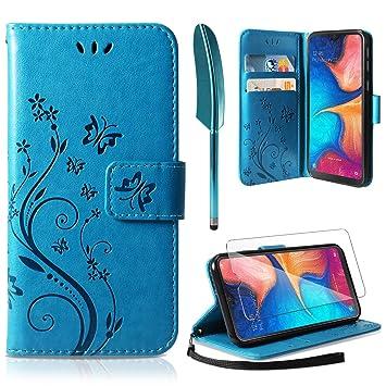 ivencase Funda Samsung Galaxy A20, Funda Piel PU Samsung Galaxy A20 Soporte Plegable Ranuras para Tarjetas Magnético Ultra-Delgado Carcasa para ...