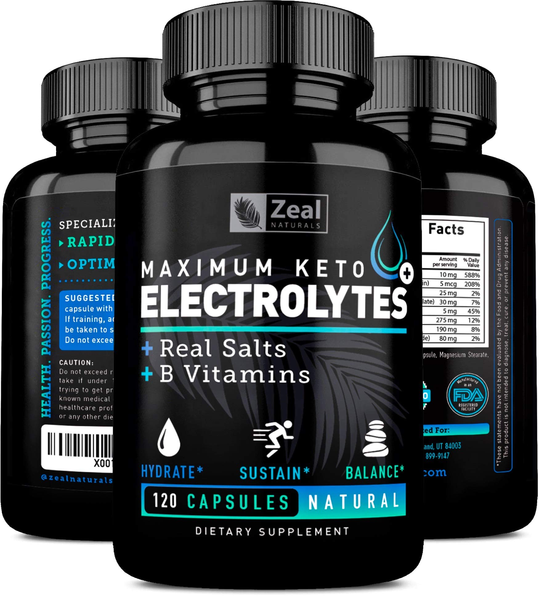 Keto Electrolyte Supplement (120 Capsules) Electrolyte Tablets w Real Sea Salt, B Vitamins, Magnesium and Potassium Supplements - Electrolyte Powder Salt Pills & Electrolyte Drink Hydration Tablets by Zeal Naturals