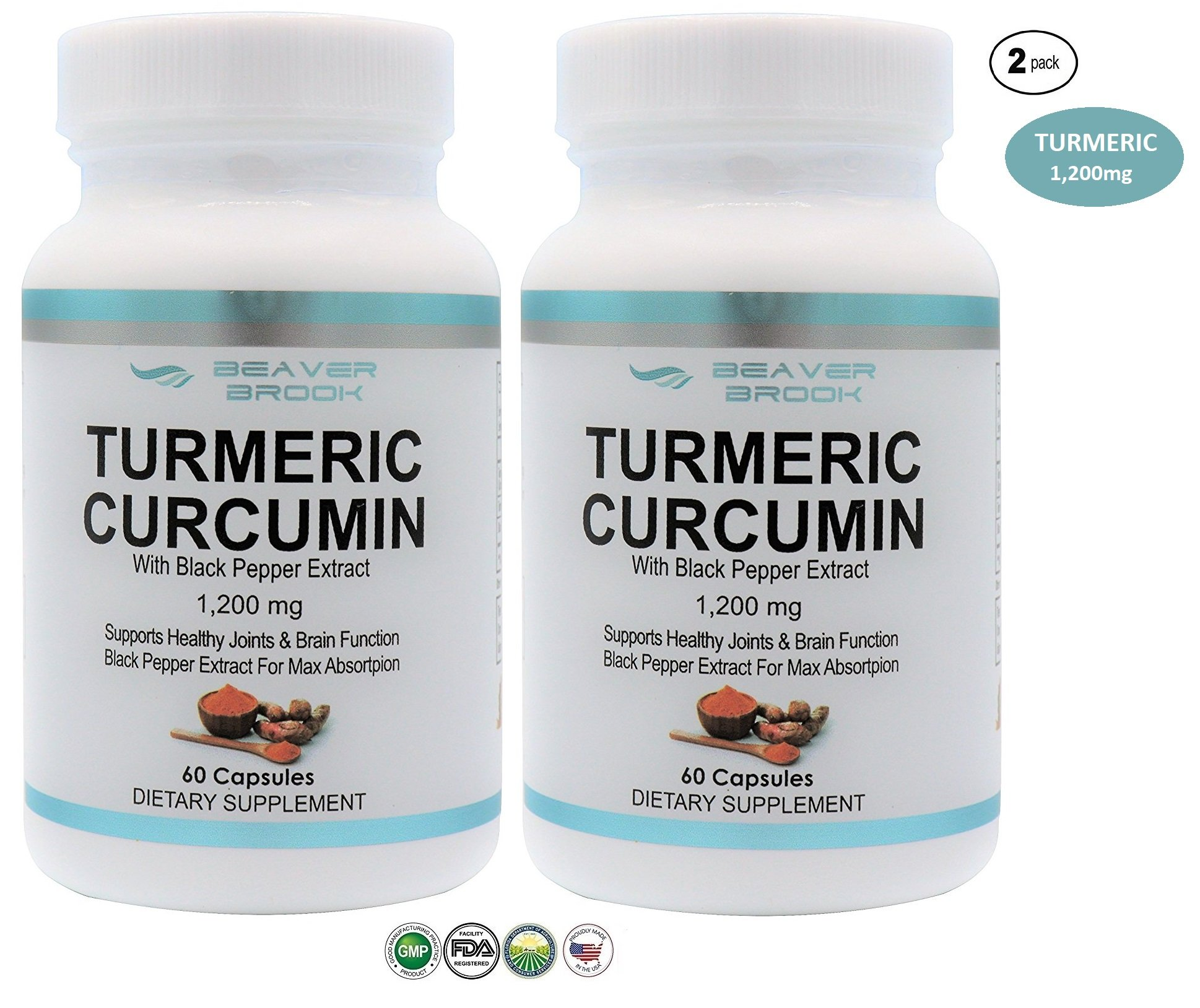 Beaver Brook All-Natural Turmeric Curcumin with Black Pepper Extract for Better Absorption 1,200mg Dietary Supplement Joint Pain Relief, Anti-Inflammatory, Made in USA & Non-GMO - 120 Capsules