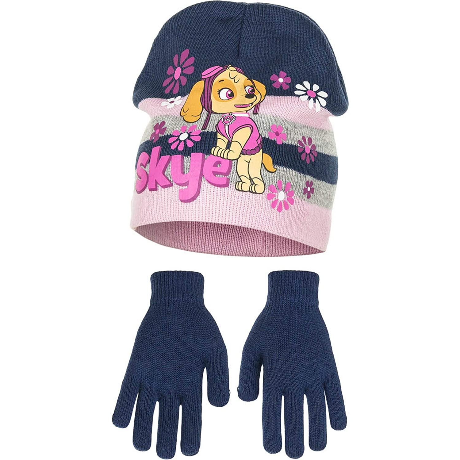 Paw Patrol Childrens Girls Skye Winter Hat and Gloves Set