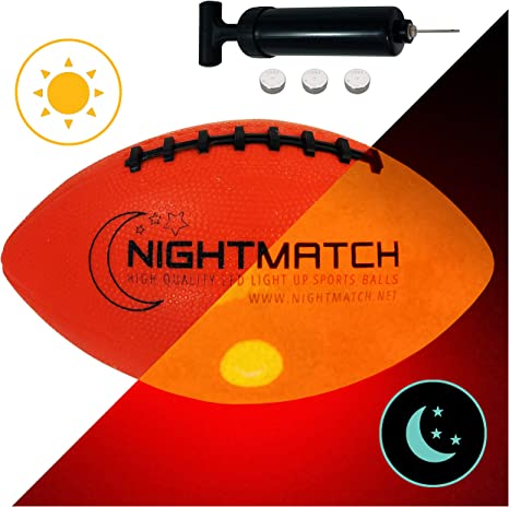 NIGHTMATCH Balón de Fútbol Americano Ilumina Incl. Bomba de balón ...