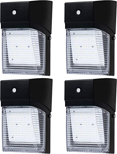 Hyperikon LED Outdoor Wall Light, 30W, Clear Lens, Photocell Dusk to Dawn Mount Sconce, Exterior Security Lighting, UL, 4 Pack