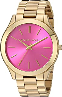Michael Kors MK3264 Womens Slim Runway Gold-Tone Stainless Steel Bracelet Watch