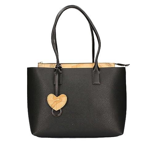 Borsa shopping bag donna Alviero Martini Prima Classe colore nero in pelle  due manici con chiusura inserto pelle Geo natural Classic. 7b26fabed1a