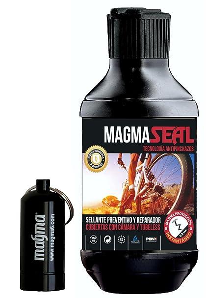MAGMA Liquido Antipinchazos MagmaSeal 250ml. Anti pinchazos preventivo y reparador. Liquido tubeless y Cubiertas con cámara. Incluye Pastillero ...