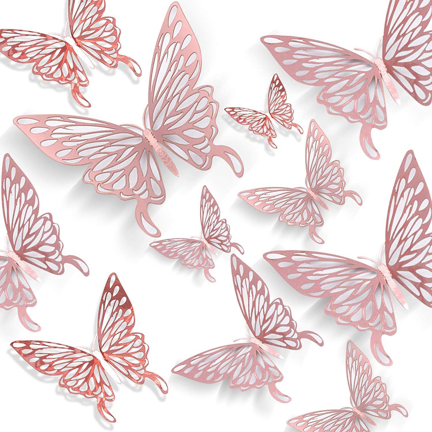 AIKS 24pcs Rose Gold Butterfly Wall Stickers 3D Butterfly Wall Decals Rose Gold Party Decorations Butterfly Wall Stickers DIY Wall Decoration for Kids Room Bedroom Party Wedding (3 Sizes)