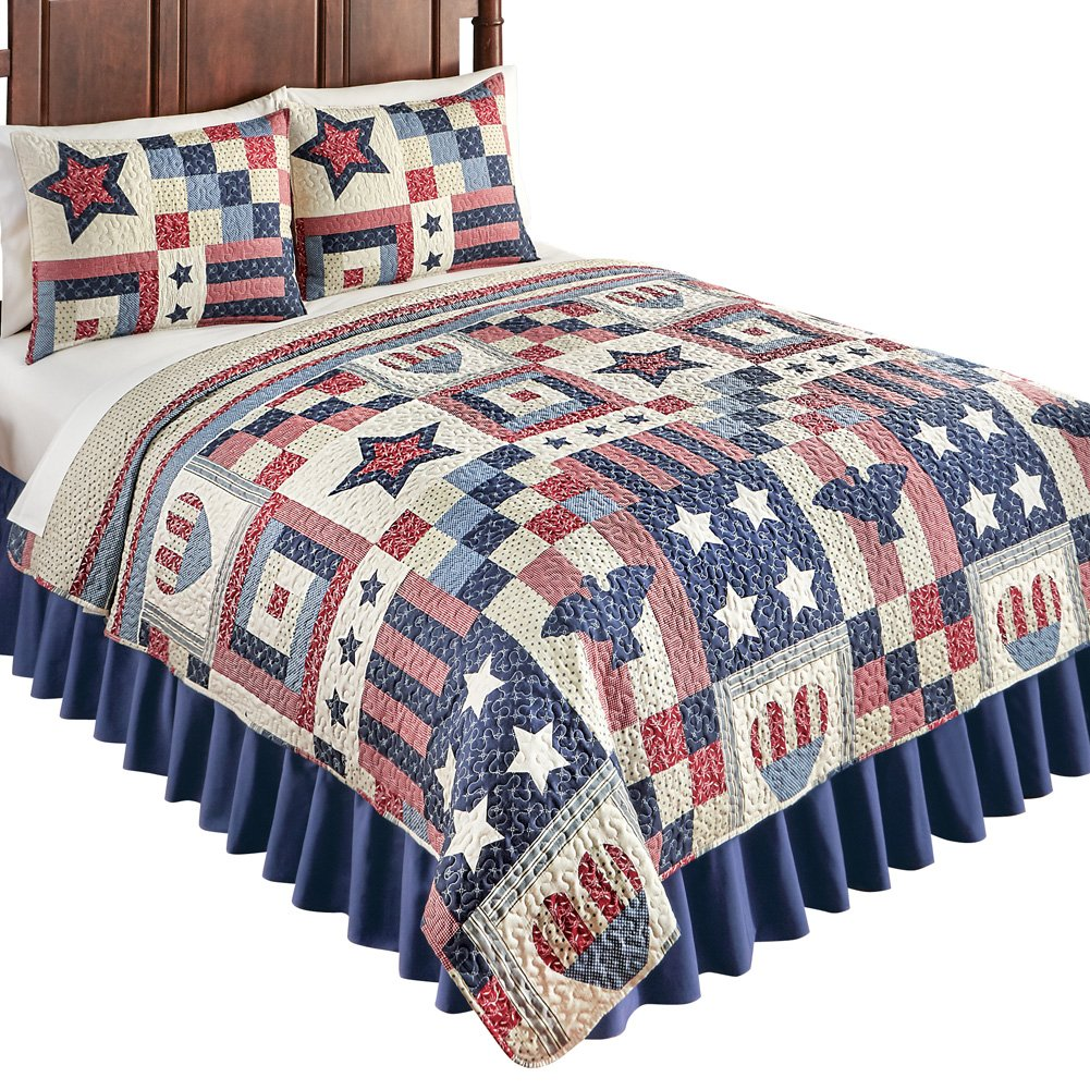 Collections Etc Patriotic Country Home Americana Bedding Quilt with Stars, Stripes, Hearts & Eagles, Blue Multi, Twin Winston Brands