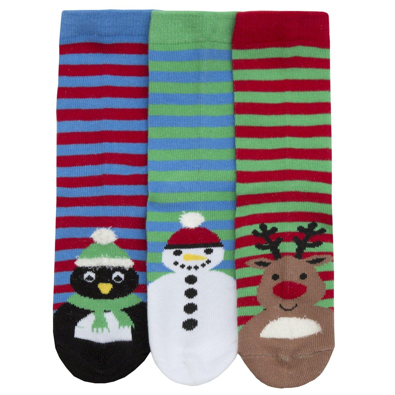 Metzuyan Infant Boys Christmas Themed Cotton Rich 6 Pairs Multipack Legging 4pc Socks