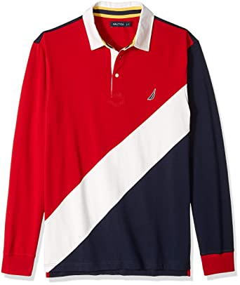 b8993418 Amazon.com: Nautica Men's Big and Tall Long Sleeve Classic Fit Pieced  Souvenir Polo Shirt: Clothing