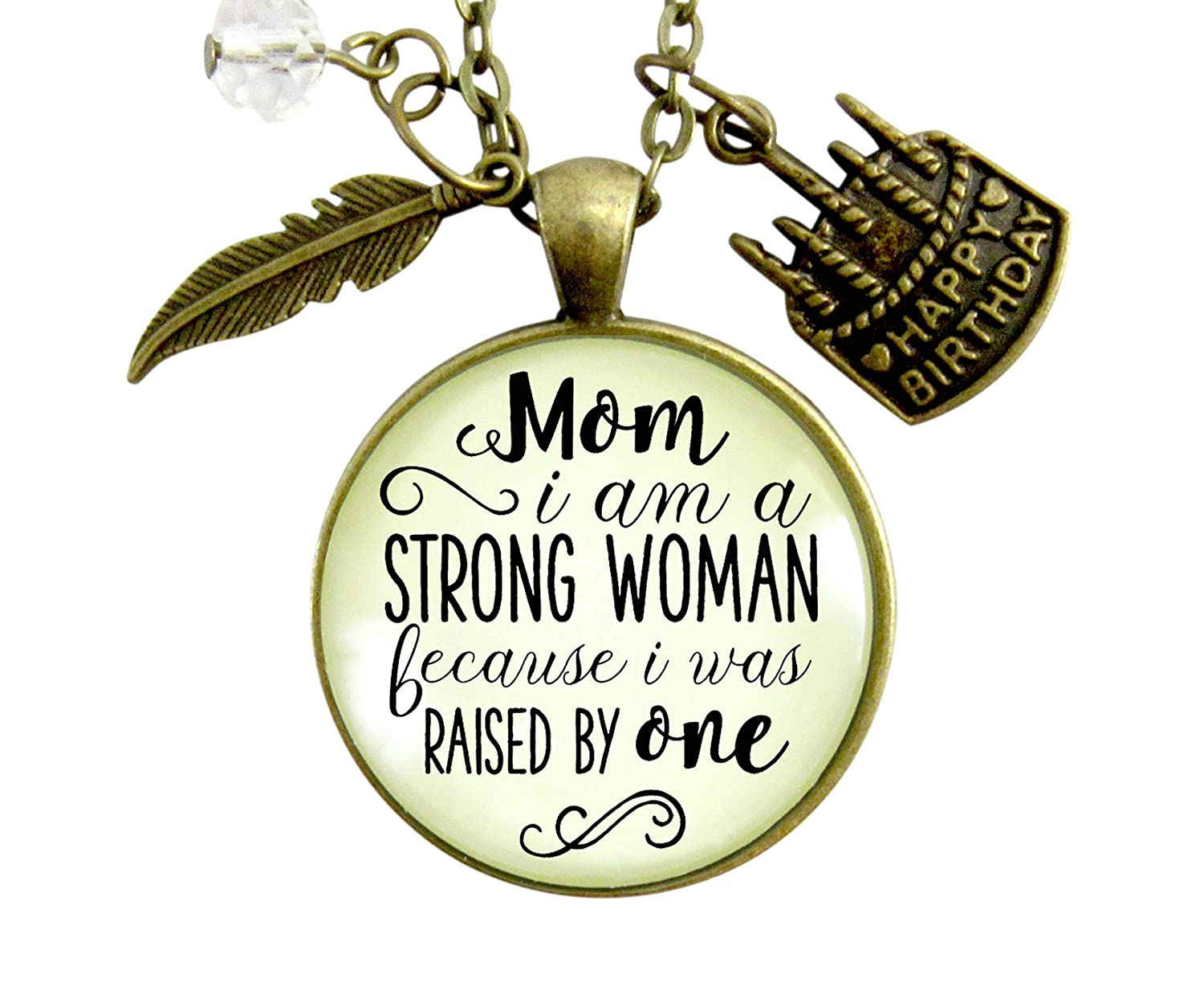 Amazon 36 Mom Birthday Gift Necklace I Am A Strong Woman Because Was Raised Mother Daughter Bday Jewelry Card For Women Handmade