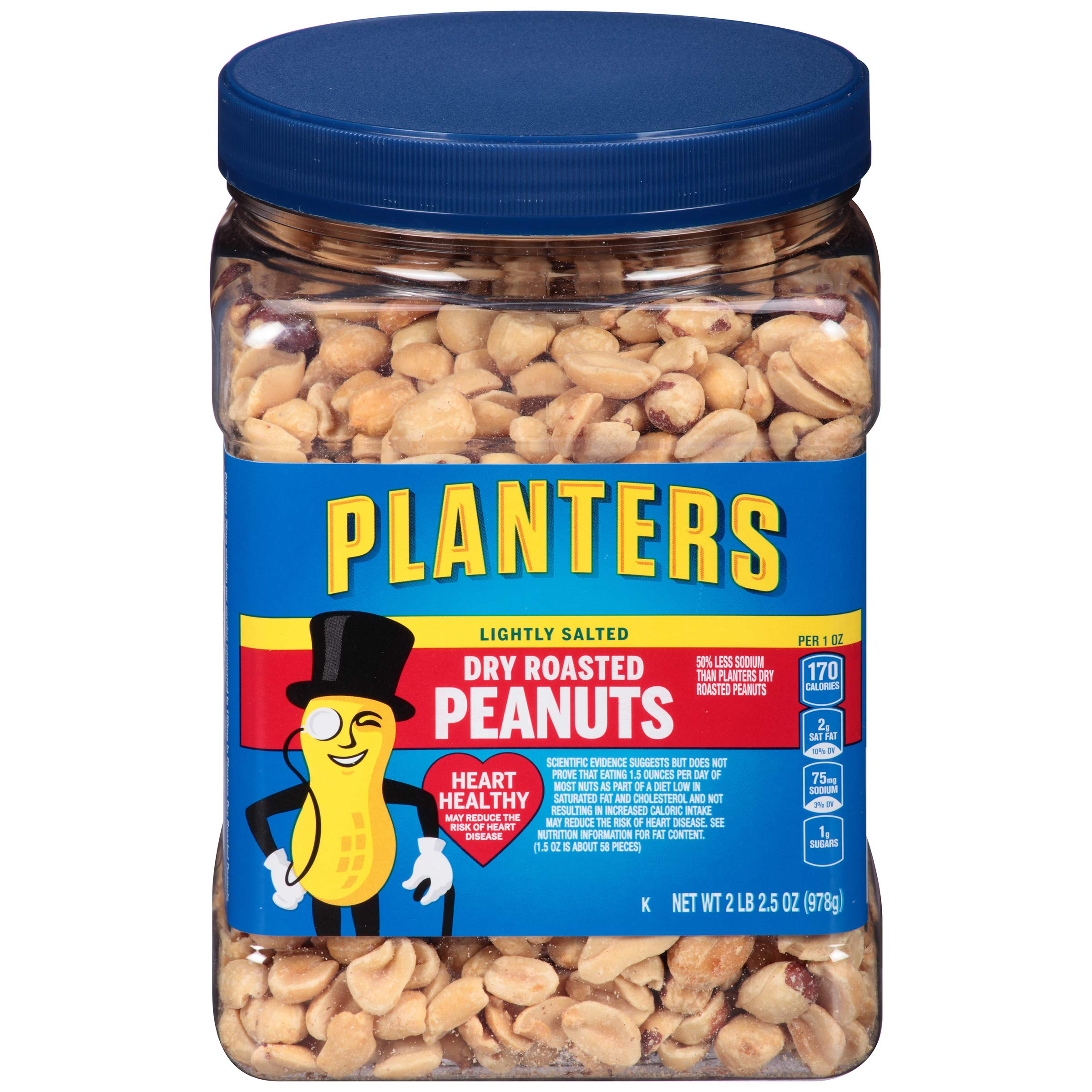 Planters Lightly Salted Dry Roasted Peanuts (2lb Canister, Pack of 6) by Planters