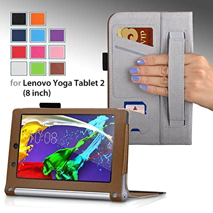 For Lenovo YOGA Tablet 2 8-inch with Sleep/Wake Up Premium PU LEATHER FOLIO PROTECTIVE SMART CASE, COVER, STAND with MICROFIBER INNER, STYLUS SLOT, ...