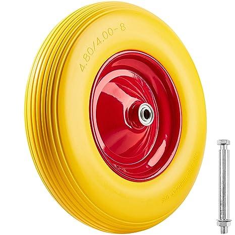 TecTake Rueda para carretilla goma maciza | incl. Llanta de aluminio e eje | Capacidad